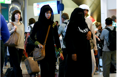 Emirati women in Dubai airport.