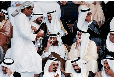 Emiratis attend a military parade in Abu Dhabi