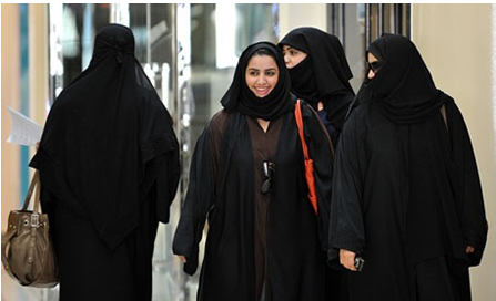 Saudi women walking in a shopping centre in Riyadh