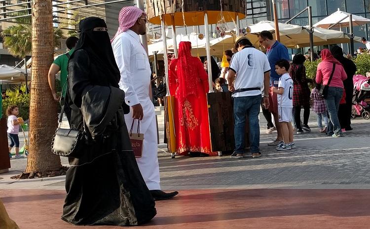 arab couple walking