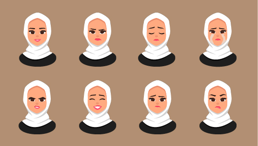Woman's Emotions in Hijab